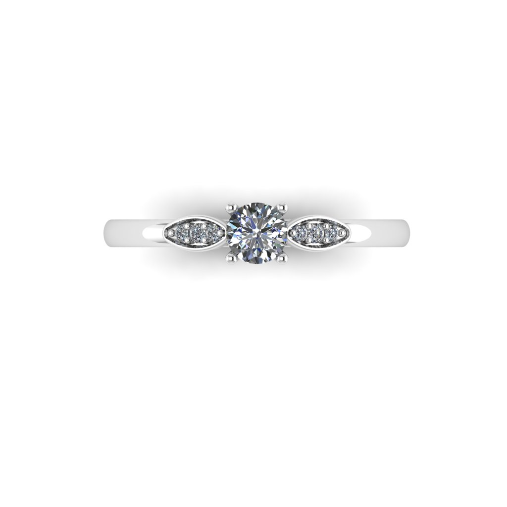 0.25 4 claw pave marque ring White