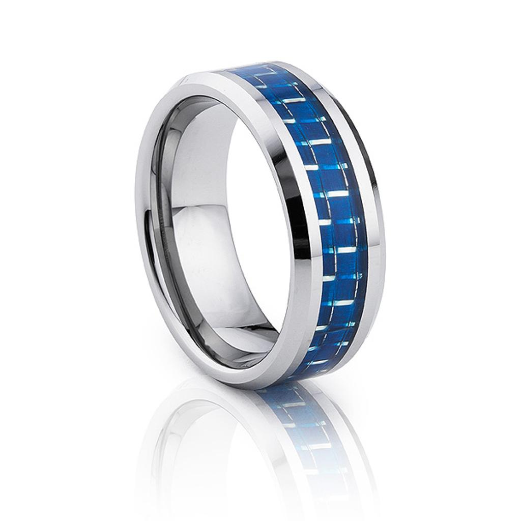 Tungsten Wedding Rings.Navy Tungsten Wedding Band