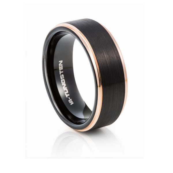 Black Tungsten Wedding Band with Champagne Sides