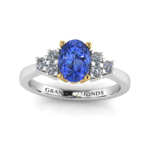 Have An Inquiring Mind Platinum Diamond And Oval Tanzanite Ring Precious Metal Without Stones Fine Rings
