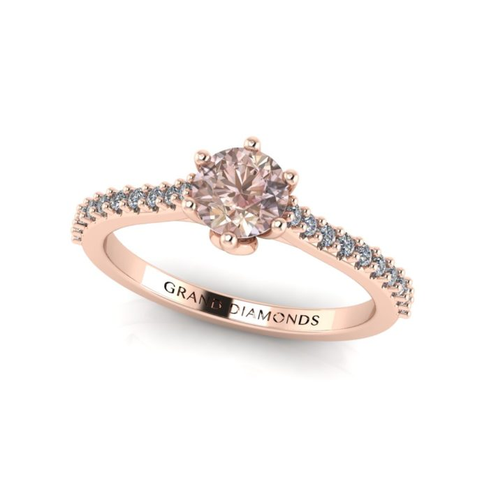 Morganite round cut with micro pave' band