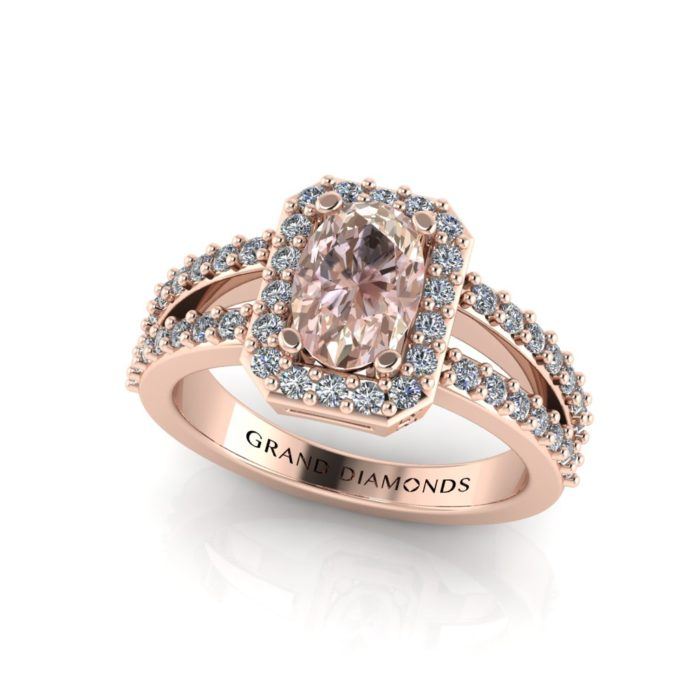 Morganite oval with a halo and pave' double band