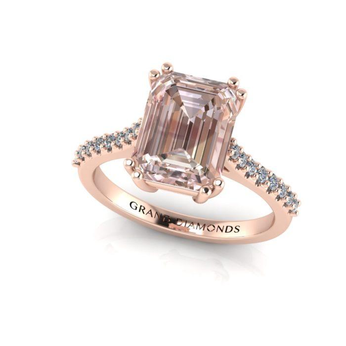 Large Emerald Cut Morganite Micro Set Ring