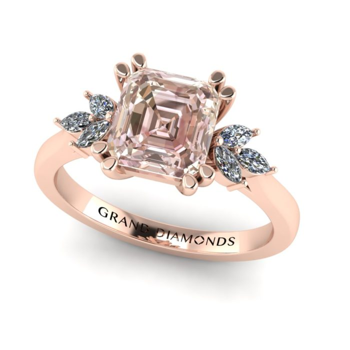 Square Emerald cut Morganite and Clustered Marquee Diamond Ring