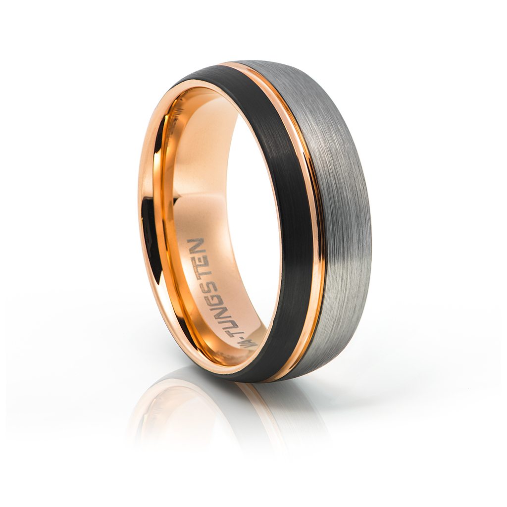 This is an image of Rose Gold, Ashen Matt and Black Tungsten Ring