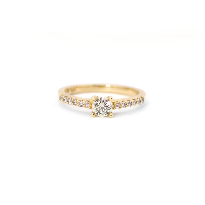Yellow Gold Diamond Ring with side stones Grand Diamonds Cape Town