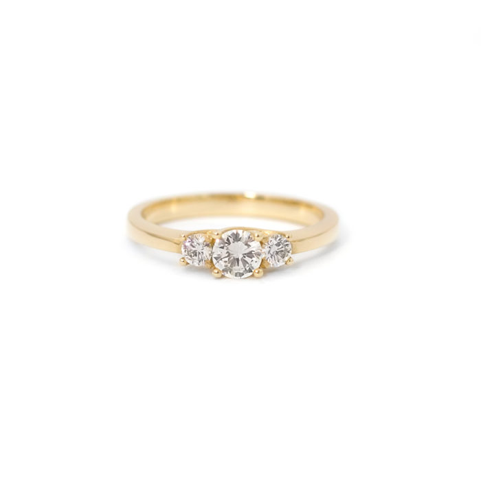 Yellow Gold Three Diamond Ring Grand Diamonds Cape Town