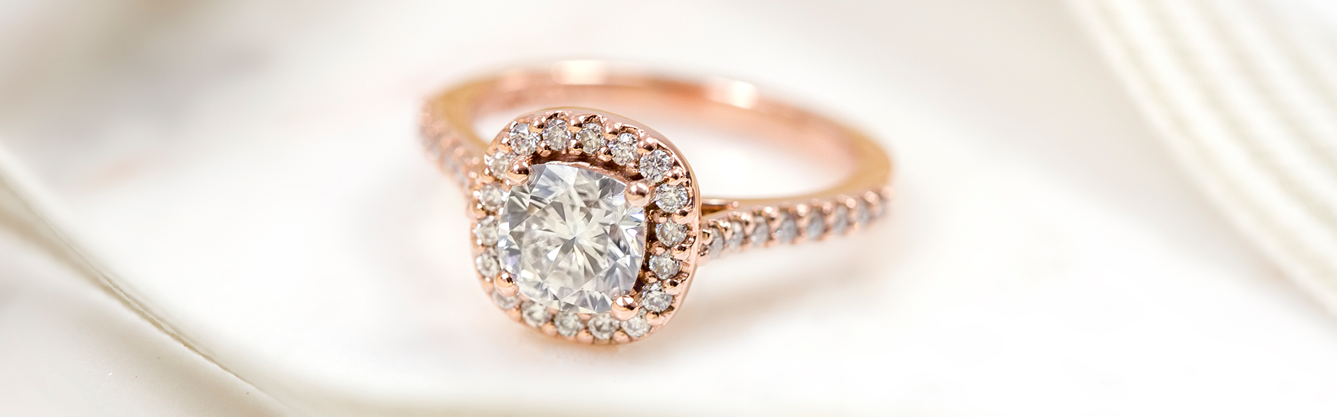 Grand Diamonds Gallery Rose Gold Cushion Cut Engagement Ring