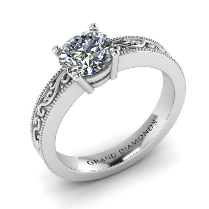 Four Claw Filigree Ring by Grand Diamonds