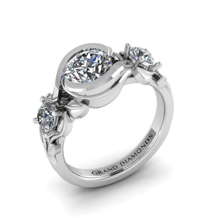 Leaf Bezel Set Vintage Ring By Grand Diamonds