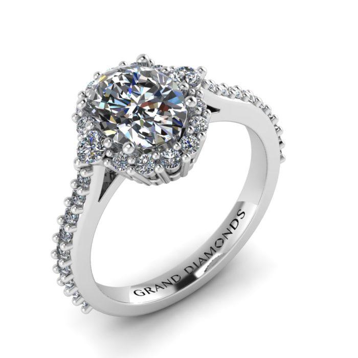 Oval Diamond Halo with Side Stones by Grand Diamonds