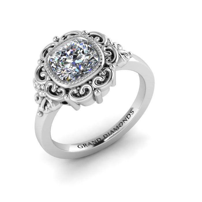 Cushion Cut Filigree Ring by Grand Diamonds