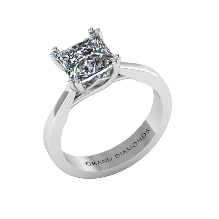 Double Claw Knife Edge Princess Cut Solitaire By Grand Diamonds