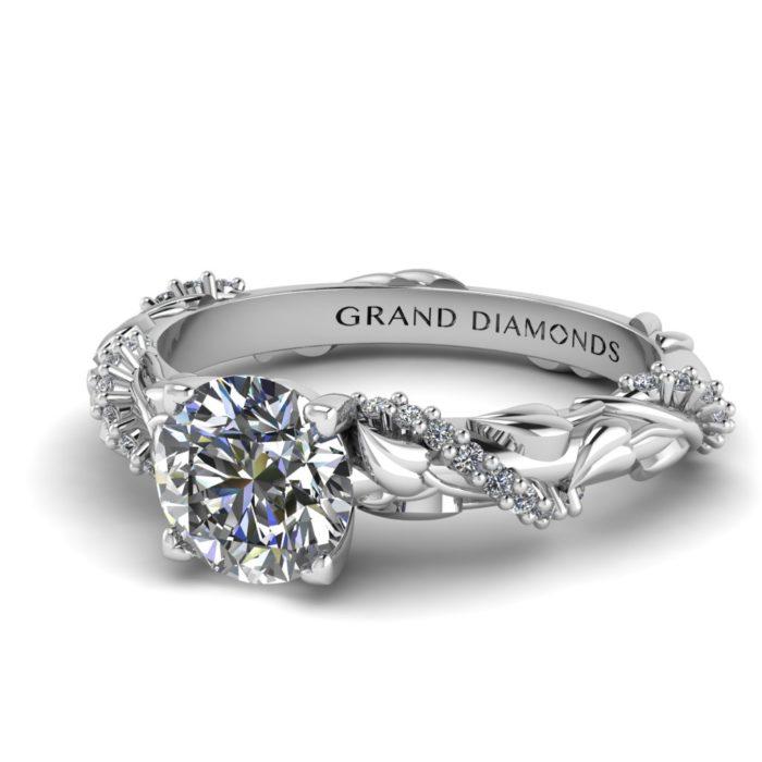 Diamond Rope and Leaf Twist Vintage Ring By Grand Diamond