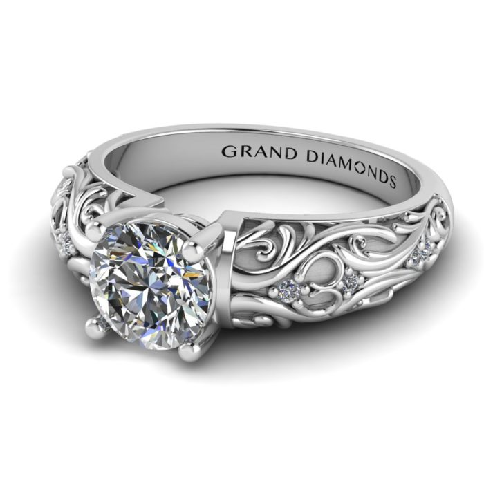 Four Claw Filigree Engraved Ring By Grand Diamonds