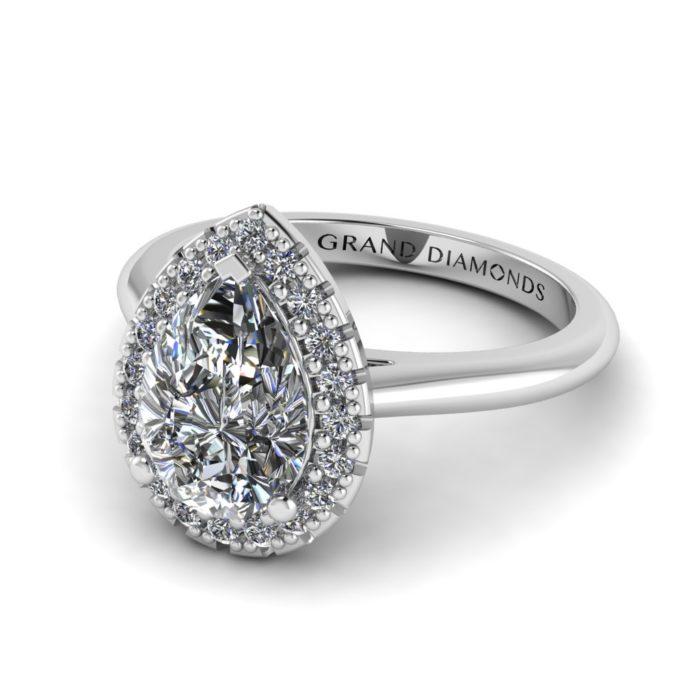 Pear Halo Diamond Ring by Grand Diamonds RL0504