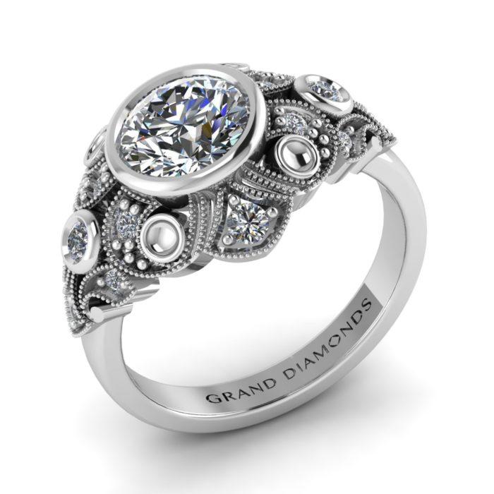 Edwardian Vintage Filigree Ring By Grand Diamonds