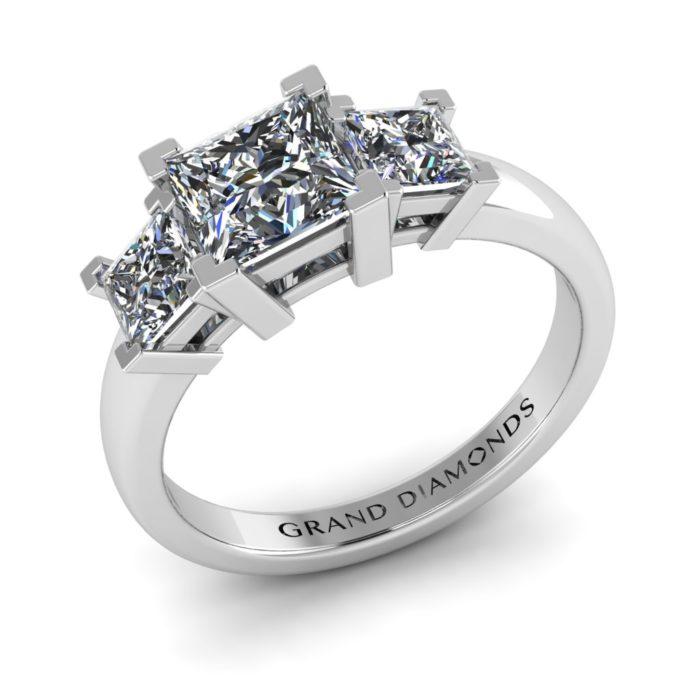 Triple Princess Cut Engagement Ring By Grand Diamonds