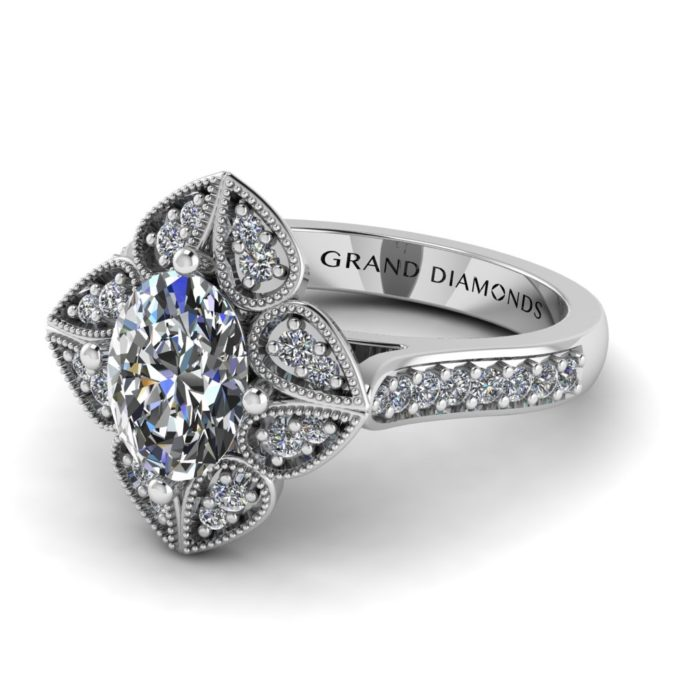 Oval Cut with small diamond pave' flower petals By Grand Diamonds