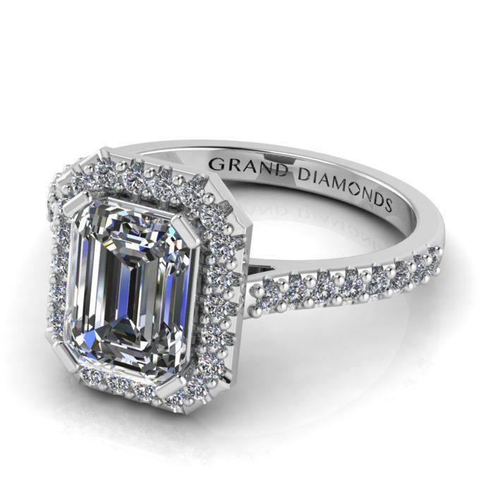 Emerald Cut Diamond Halo Ring by Grand Diamonds RL0504