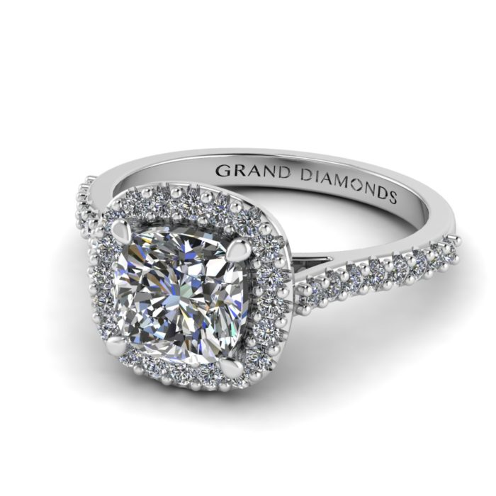 Cushion Cut Diamond Halo Ring by Grand Diamonds RL0590