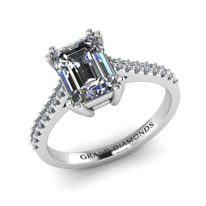 Emerald Cut Pave Ring by Grand Diamonds
