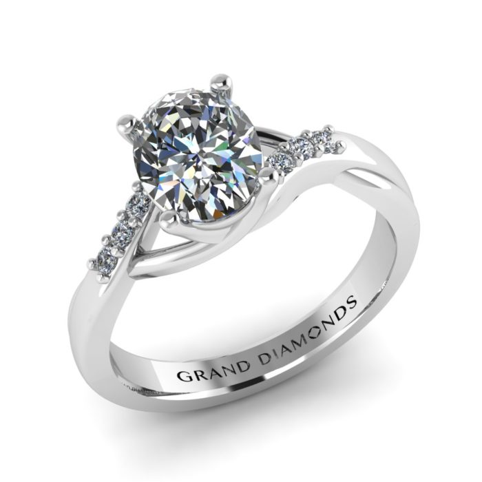 Twisted Oval Diamond Ring by Grand Diamonds