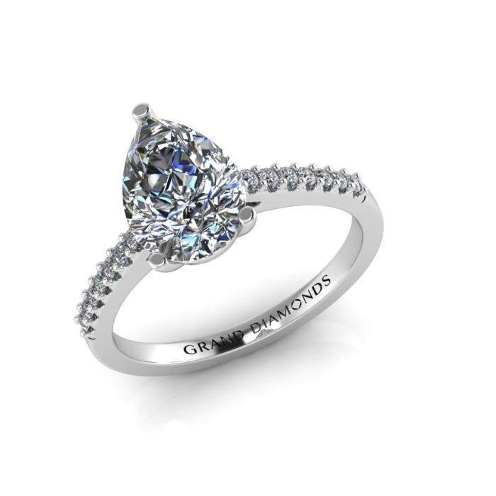 Pear Shaped Diamond Pave Ring by Grand Diamonds
