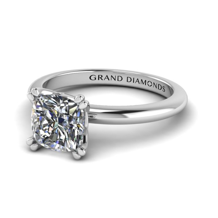 Double Claw Cushion Cut Solitaire By Grand Diamonds