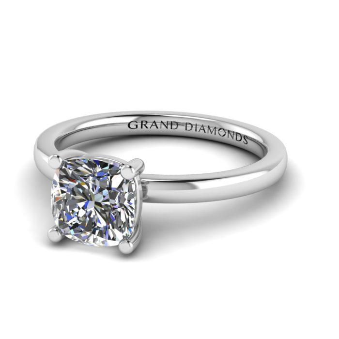 Four Claw Cushion Cut Solitaire By Grand Diamonds