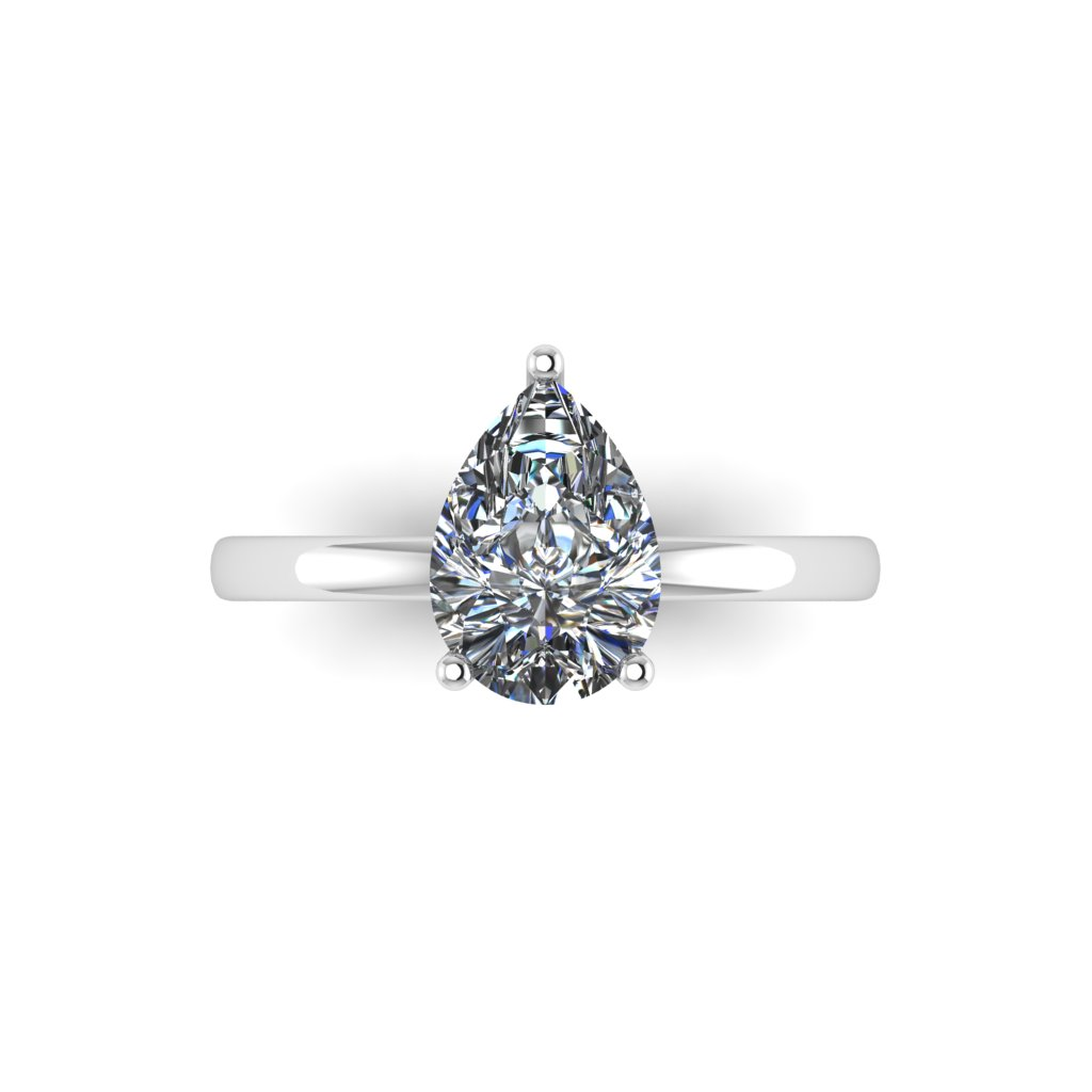 Three Claw Pear Cut Solitaire By Grand Diamonds