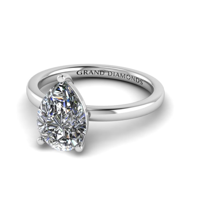 Three Claw Pear Cut Moissanite Ring By Grand Diamonds