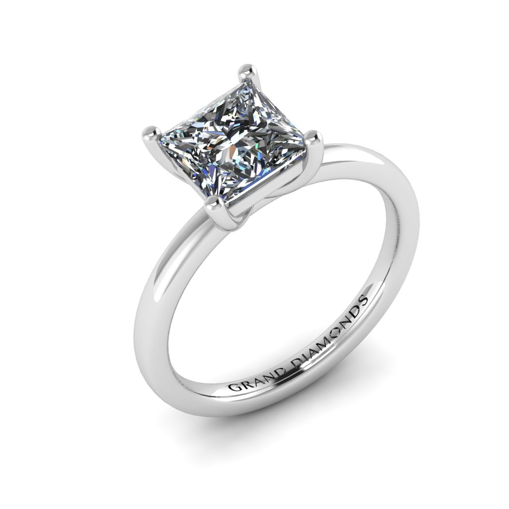 Four Claw Princess Cut Solitaire By Grand Diamonds