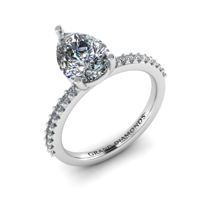 Moissanite Three Claw Pear Cut with Pavé By Grand Diamonds