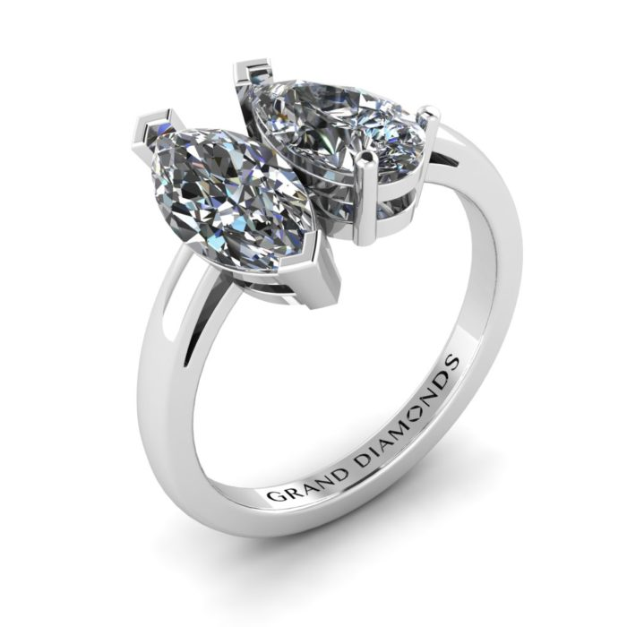 Marquise and Pear Shaped Diamond Ring - Two Stone Engagement Ring - Unique Engagement Rings