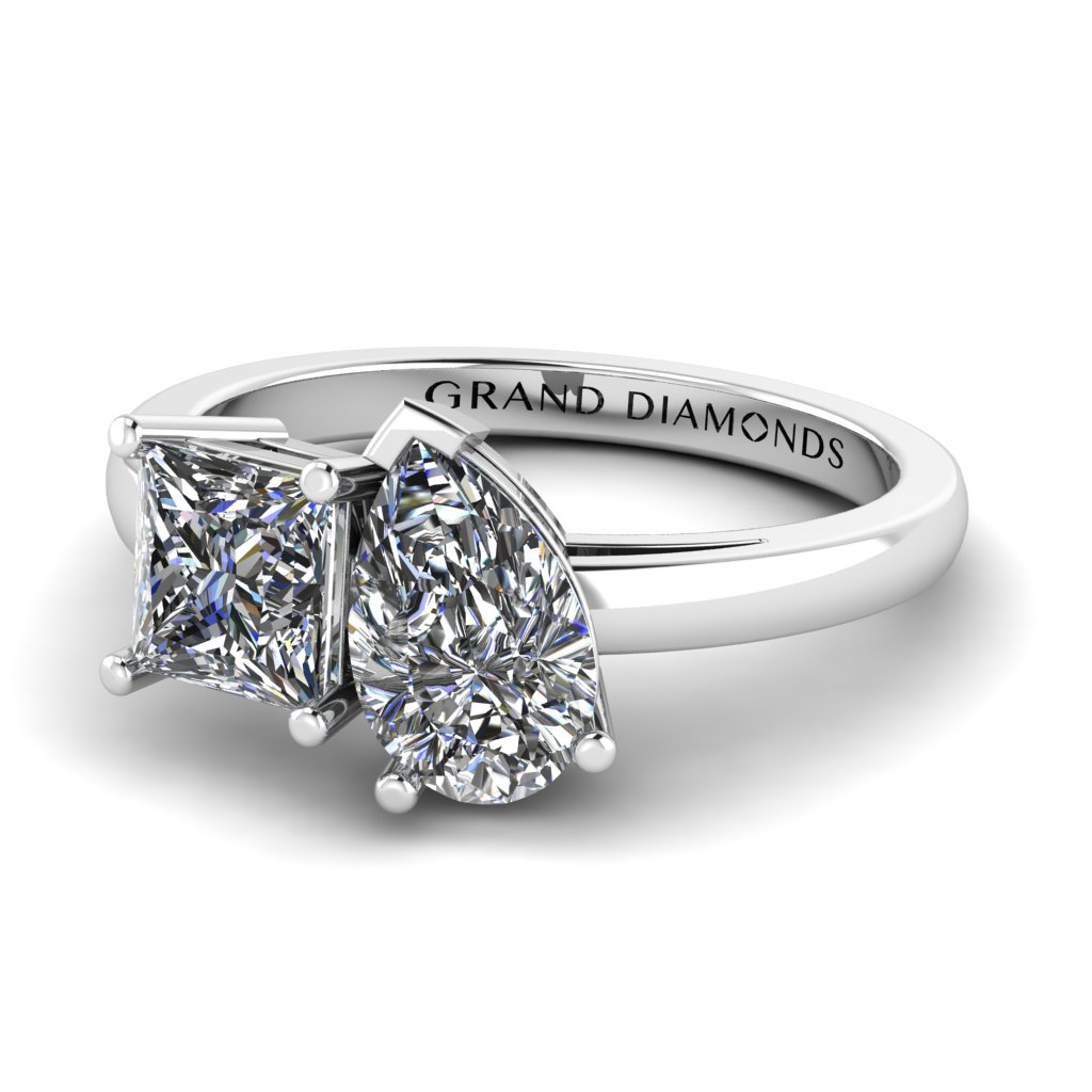 Princess and Pear Diamond Ring - Two Stone Engagement Rings - Unique Engagement Rings