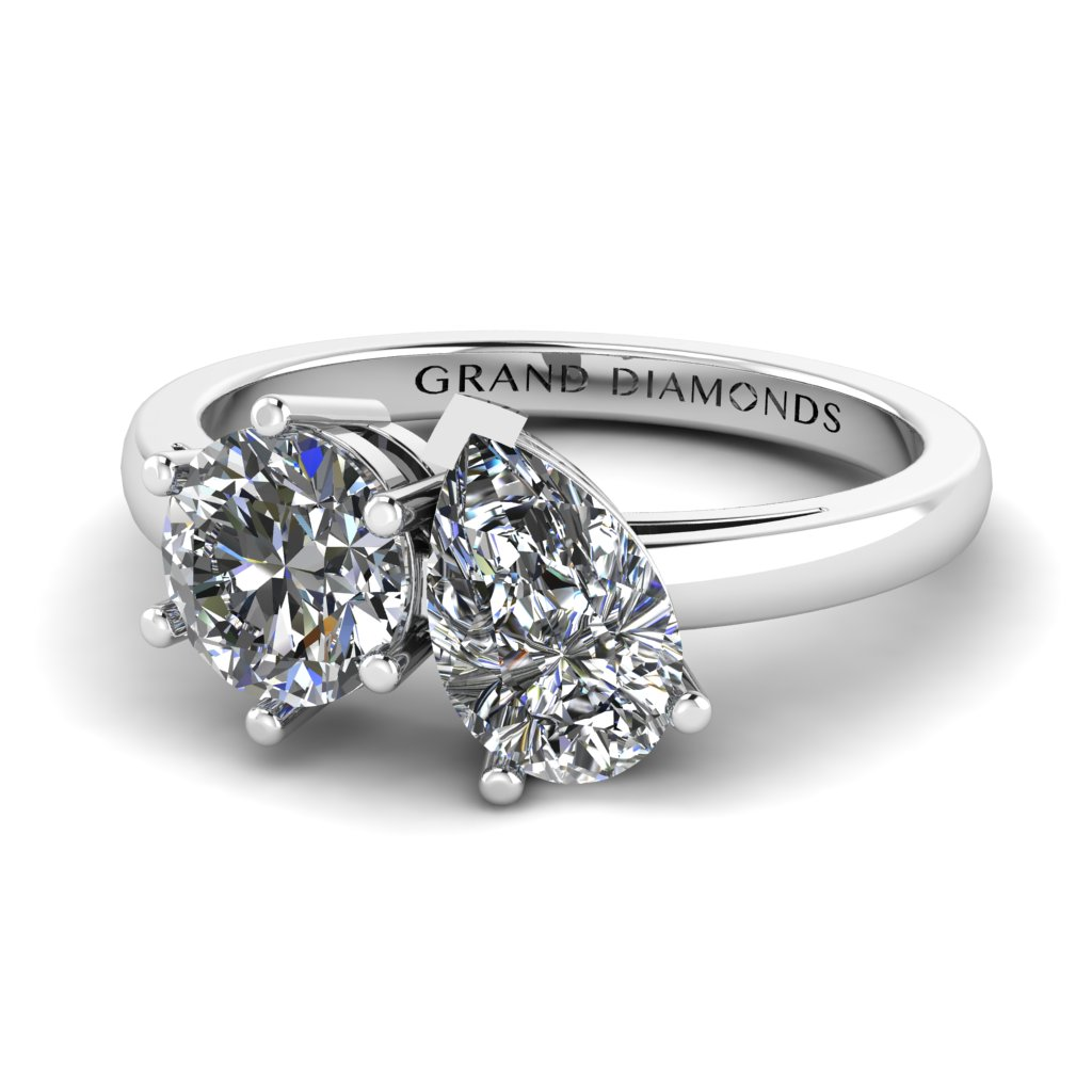 Round and Pear Diamond Ring - Unique Engagement Rings - Two Stone Engagement Rings